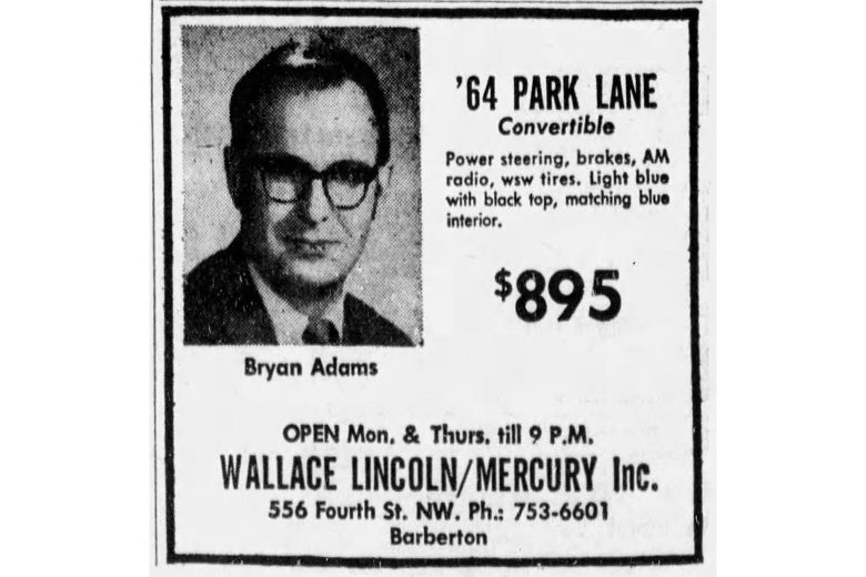A newspaper ad for the sale of a '64 Park Lane convertible from a dealer named Bryan Adams, who is pictured in extremely uncool clothing and glasses.