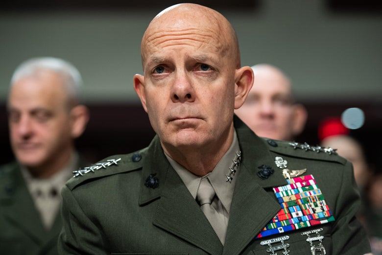 Gen. David Berger in a hearing room.