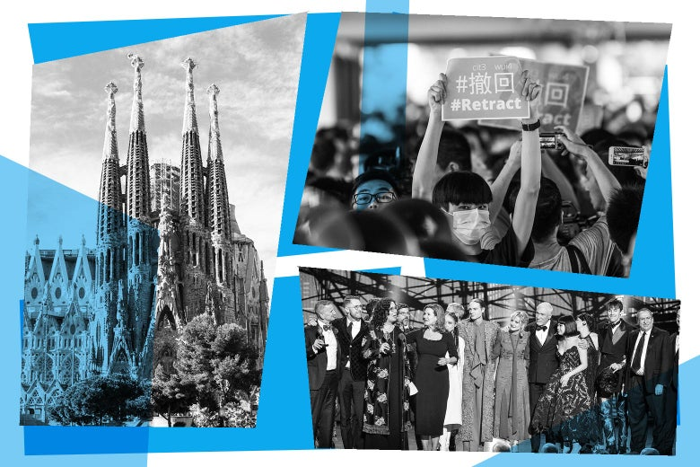 Photo collage of the Sagrada Familia, Hong Kong protests, and the Hadestown cast at the Tonys.