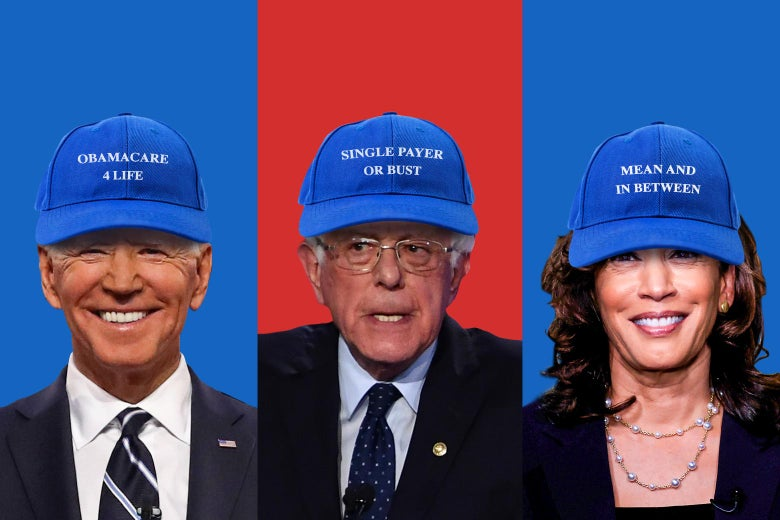 "Democratic presidential candidates in funny hats that say things like ""Obamacare 4 Life"" and ""Single Payer or Bust."""