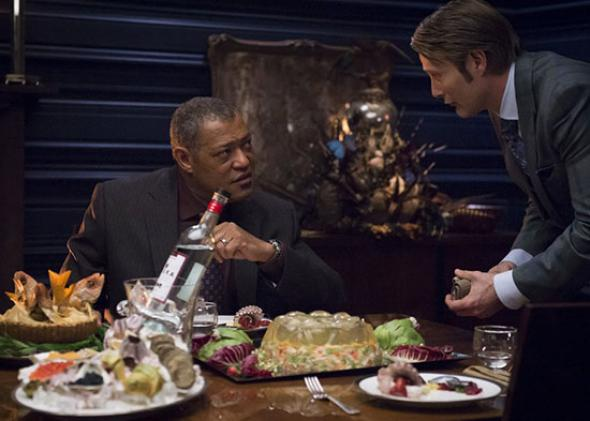 Laurence Fishburne and Hugh Dancy in Hannibal.