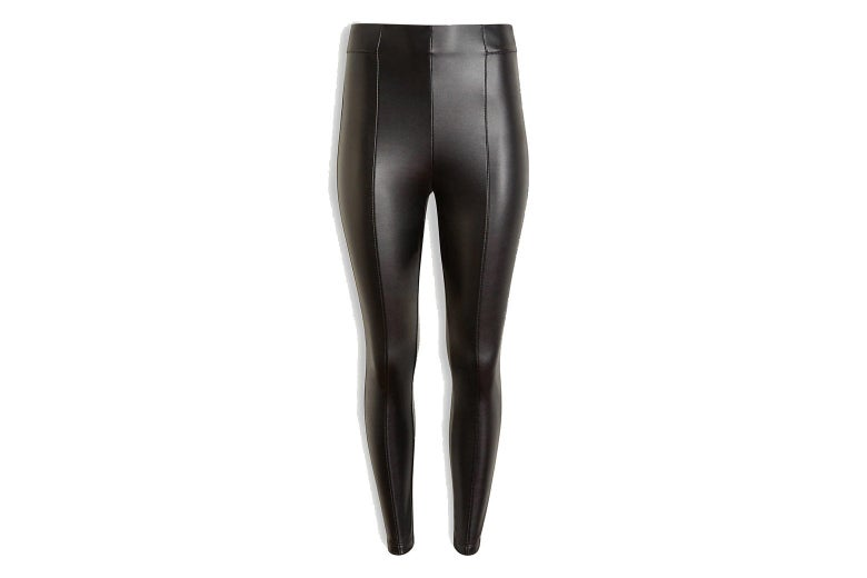 Black faux-leather leggings.