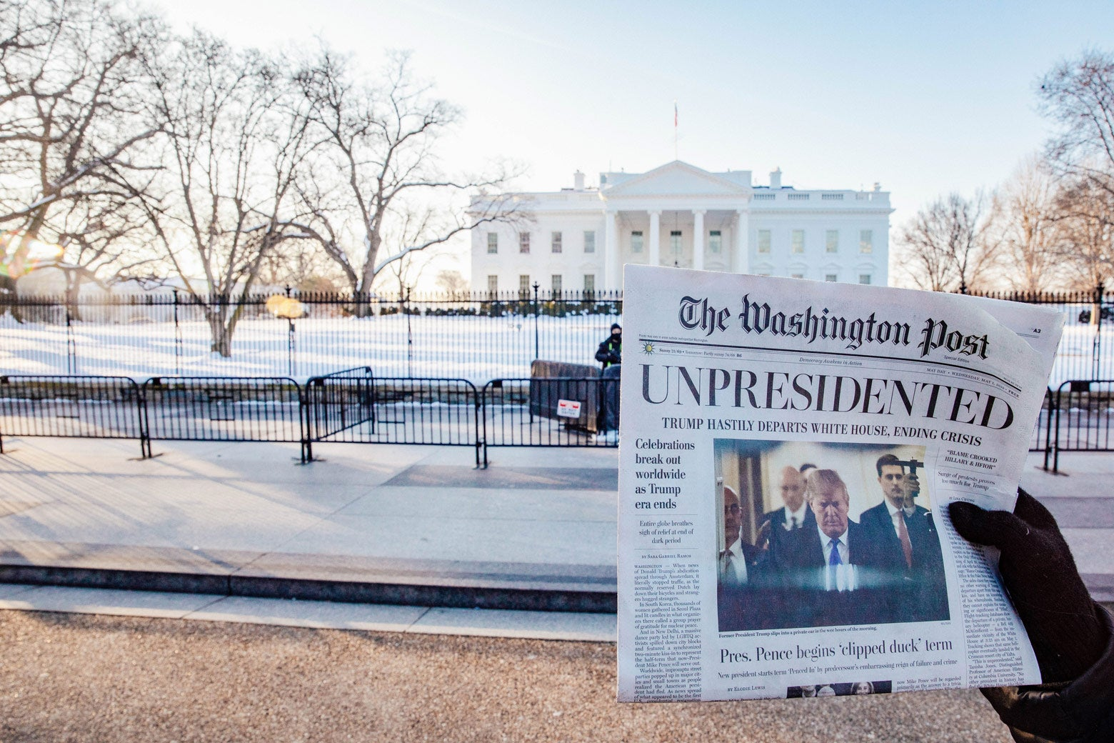 "Volunteers distribute a look-alike ""special edition"" of the Washington Post."