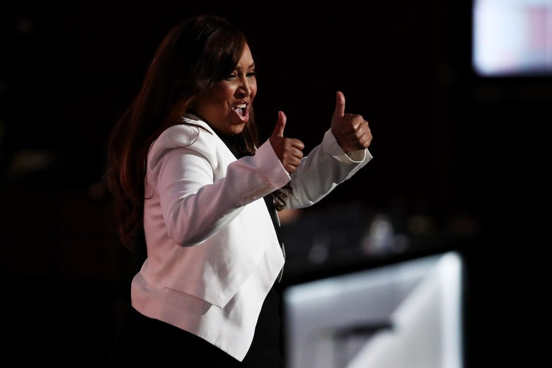 Lynne Patton, who is now head of the New York office of the Department of Housing and Urban Development, gives two thumbs up while walking on stage to deliver a speech on the third day of the Republican National Convention on July 20, 2016 at the Quicken Loans Arena in Cleveland, Ohio.