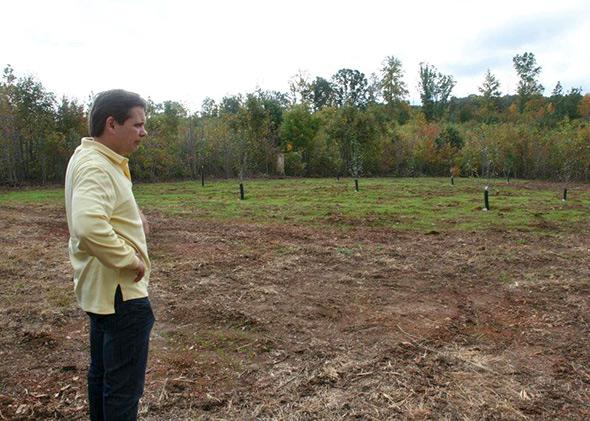 private airstrip being constructed in a clearing at Disaster Retreat in central Virginia.