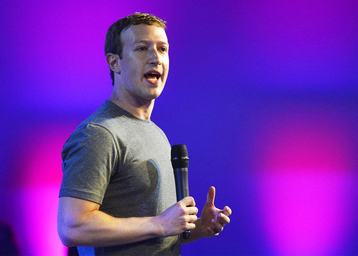 Chairman and chief executive of Facebook Mark Zuckerberg announces the Internet.org Innovation Challenge in India in New Delhi, Oct. 9, 2014.