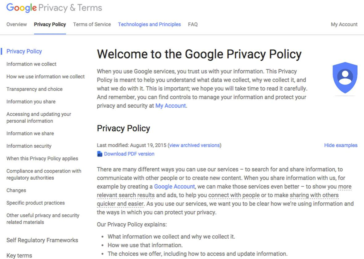 Google privacy policy.