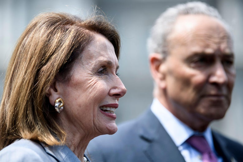 House Speaker Nancy Pelosi and Senate Minority Leader Chuck Schumer after meeting on infrastructure with President Donald Trump on Tuesday in Washington.
