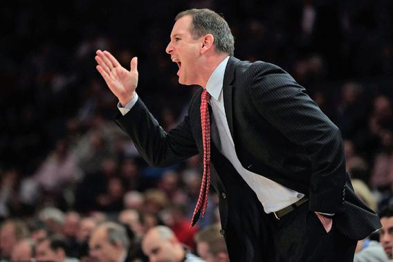 Rutgers head coach Mike Rice gestures from the bench during a game against the St.Johns Red Storm during the second round of the 2011 Big East Men's Basketball Tournament at Madison Square Garden on March 9, 2011 in New York City.