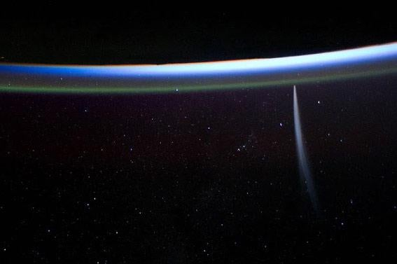 Picture of Comet Lovejoy from the space station.