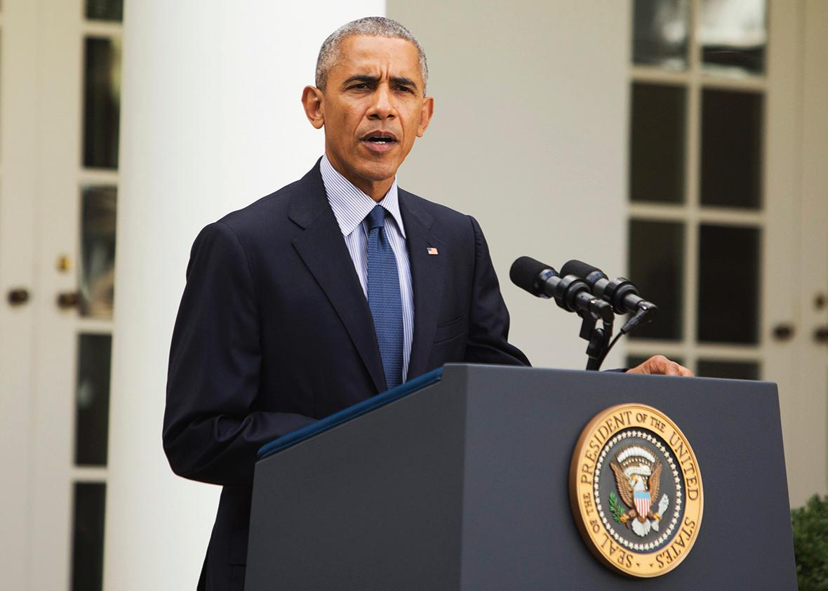 U.S. President Barack Obama makes a statement on the Paris Agreement at The White House October 5, 2016 in Washington D.C.