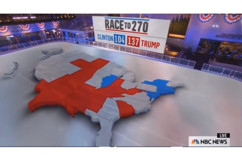 A 3D electoral college map hovering over Rockefeller Center's ice rink.