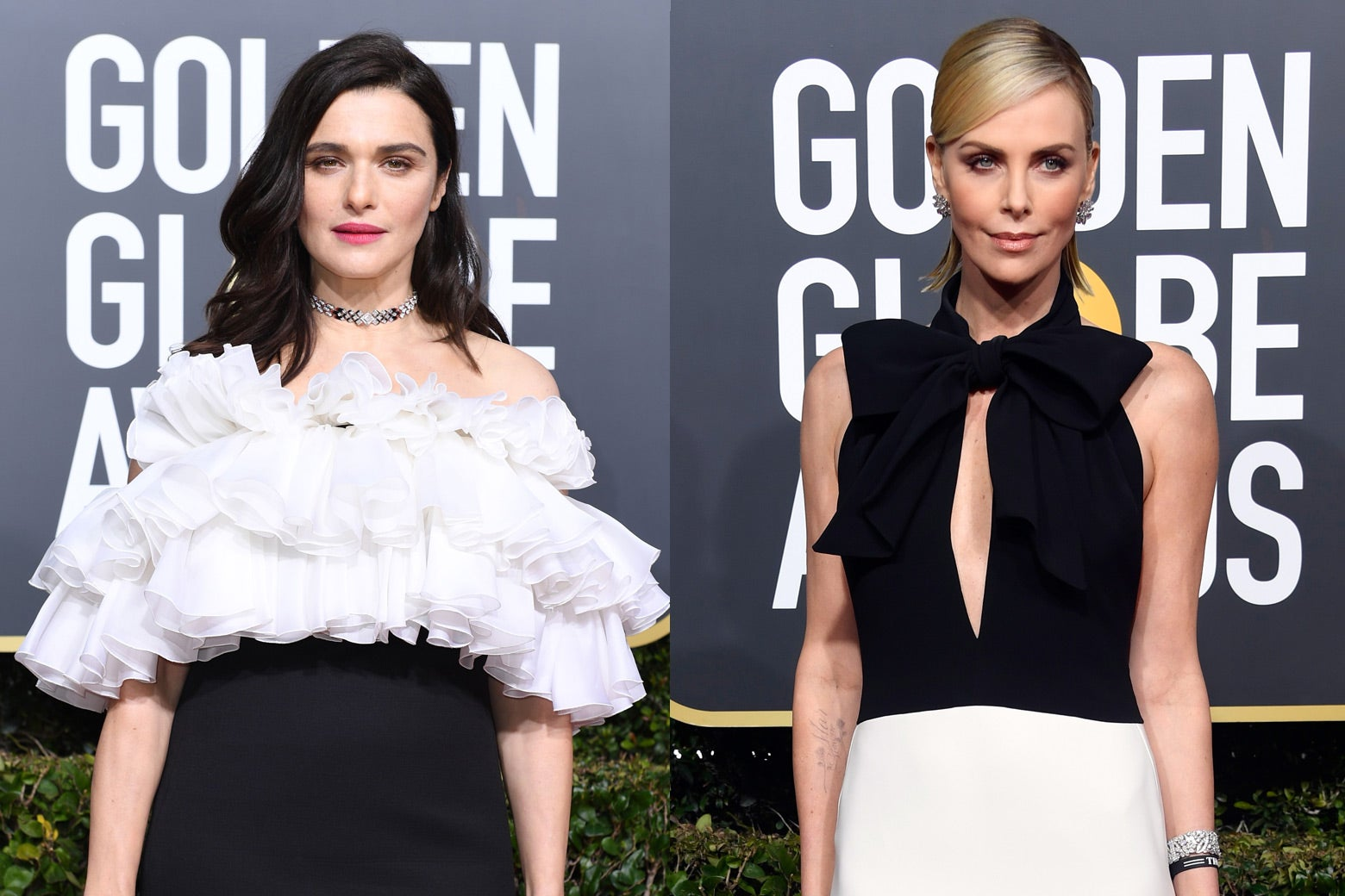 Rachel Weisz and Charlize Theron at the 2019 Golden Globes.
