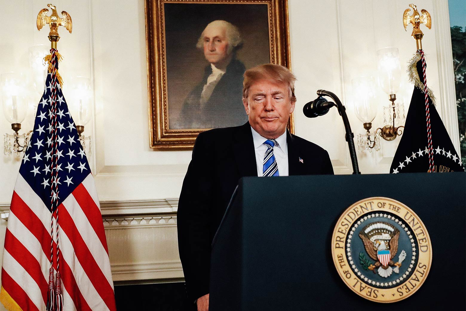 President Donald Trump speaks about the Florida high school shooting from the White House in Washington on Thursday.
