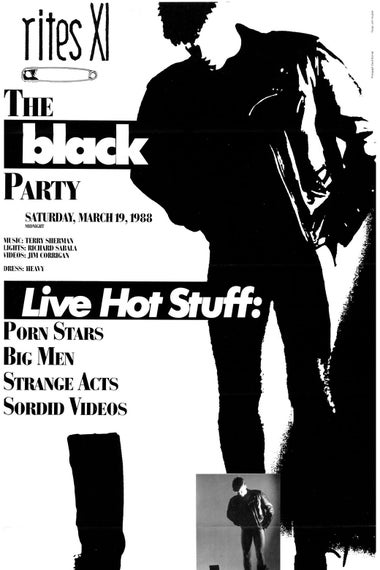 "Flyer features images of a man wearing a leather jacket and reads ""Live Hot Stuff: PORN STARS, BIG MEN, STRANGE ACTS, SORDID VIDEOS."""