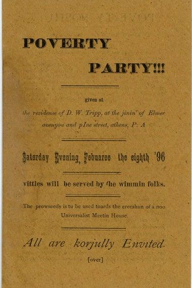 Poverty Party invitation
