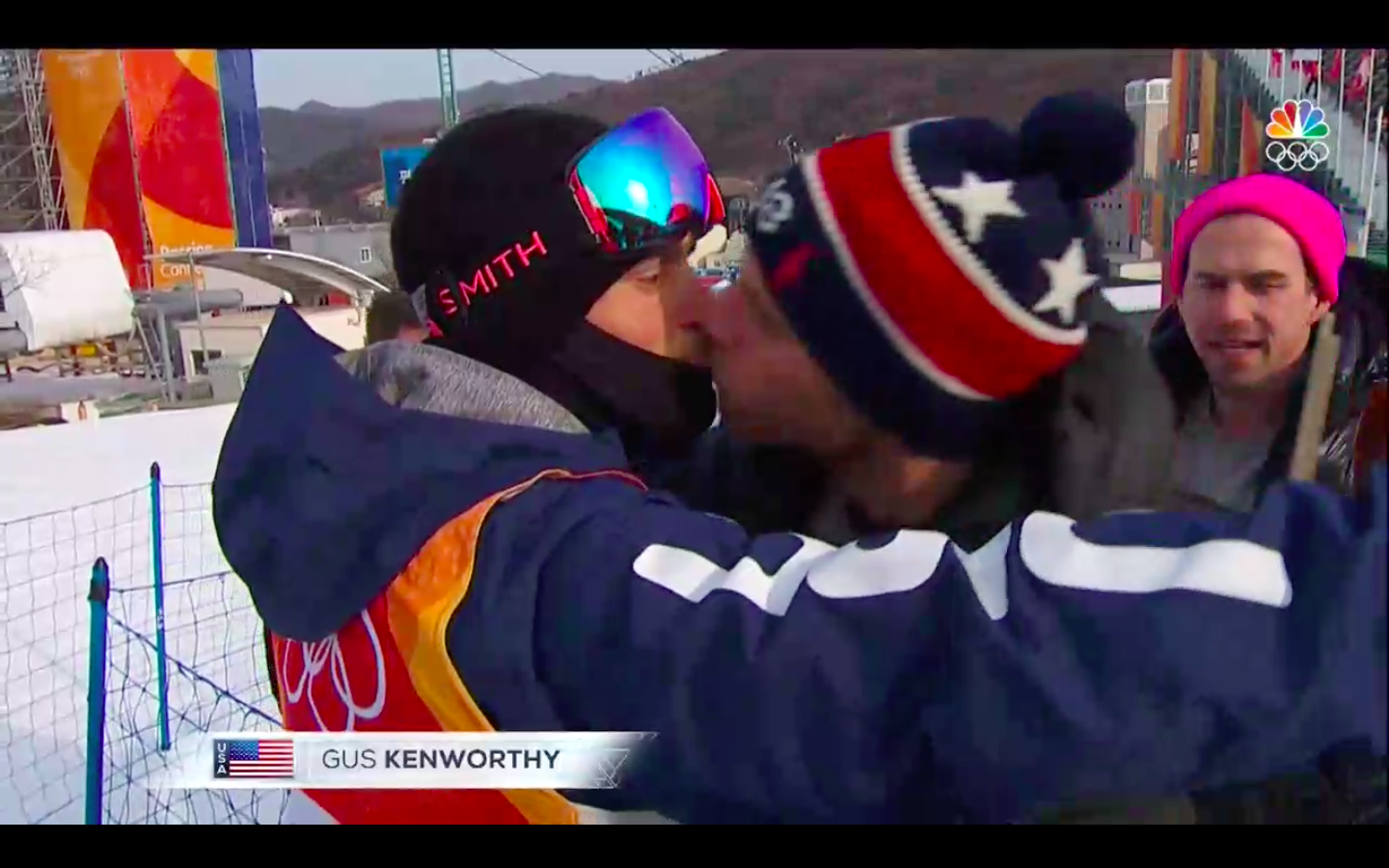 Gus Kenworthy kisses boyfriend Matthew Wilkas before competing in the qualifying round of men's freestyle skiing in Pyeongchang, South Korea, on Feb. 18, 2018.