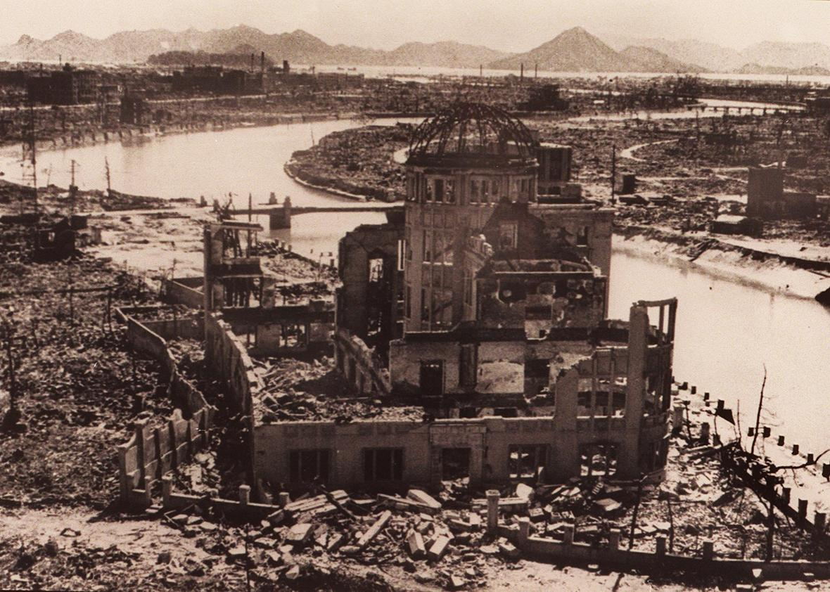 A file photo dated September 1945 of the remains of the Prefectural Industry Promotion Building after the bombing of Hiroshima, which was later preserved as the Hiroshima Peace Memorial, Atomic Bomb Dome or Genbaku Dome.