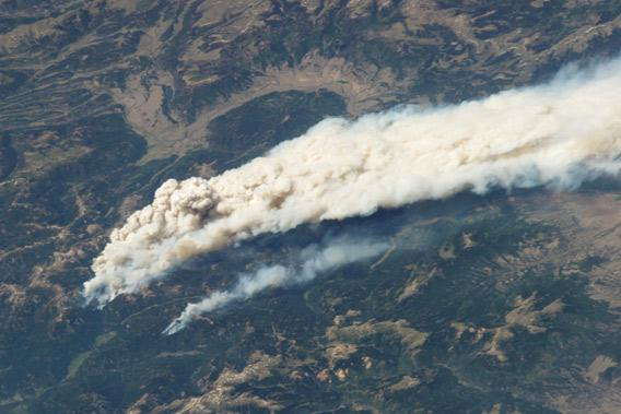 wildfire seen from space