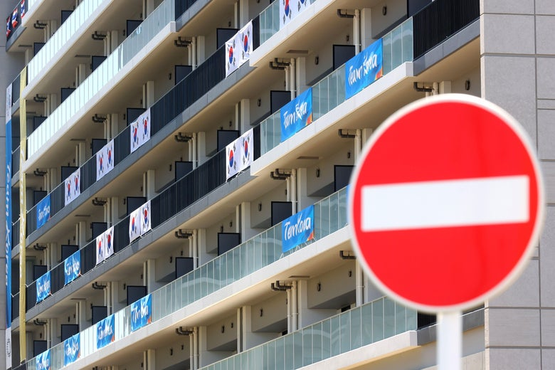 TOKYO, JAPAN - JULY 21: A general view of the Olympic Village ahead of the Tokyo 2020 Olympic Games on July 21, 2021 in Tokyo, Japan. (Photo by Alexander Hassenstein/Getty Images)