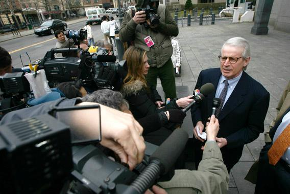 David Stockman, former budget director for former U.S. President Ronald Reagan, speaks to members of the media.