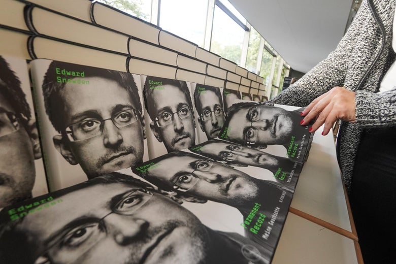 Copies of Edward Snowden's new book during an appearance via video conference.