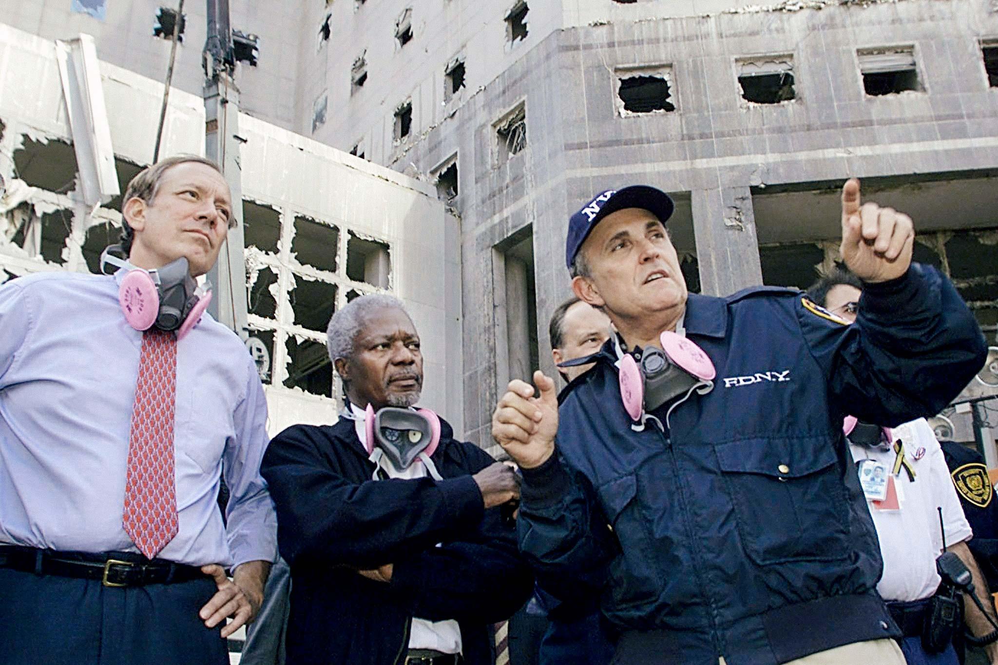 George Pataki, Kofi Annan, and Rudy Giuliani at ground zero.