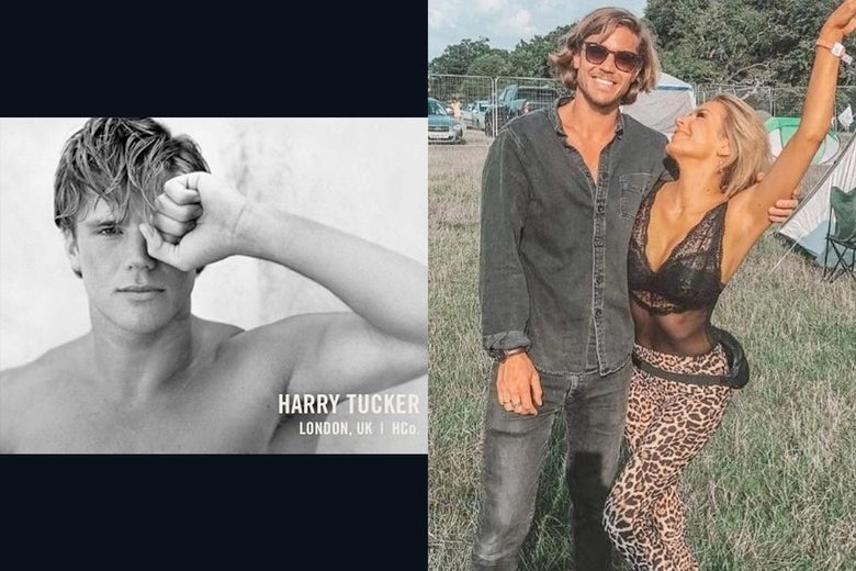 Harry Tucker, shirtless in a black-and-white ad, and in a denim outfit with a woman on his arm.