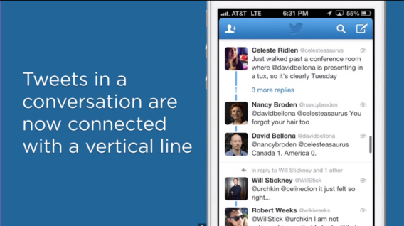 Twitter conversations: What are those blue vertical lines?