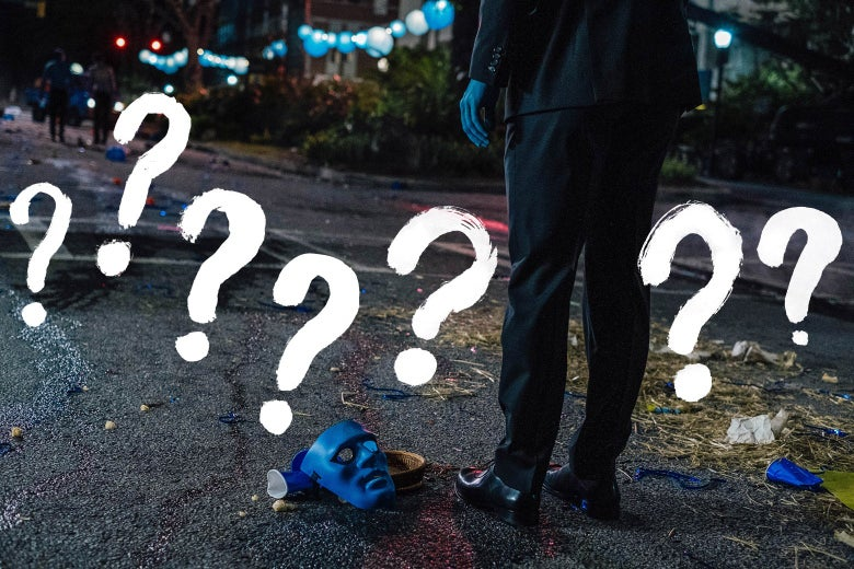 A man in a black suit with blue skin stands over a blue mask on the ground. Question marks surround the scene.