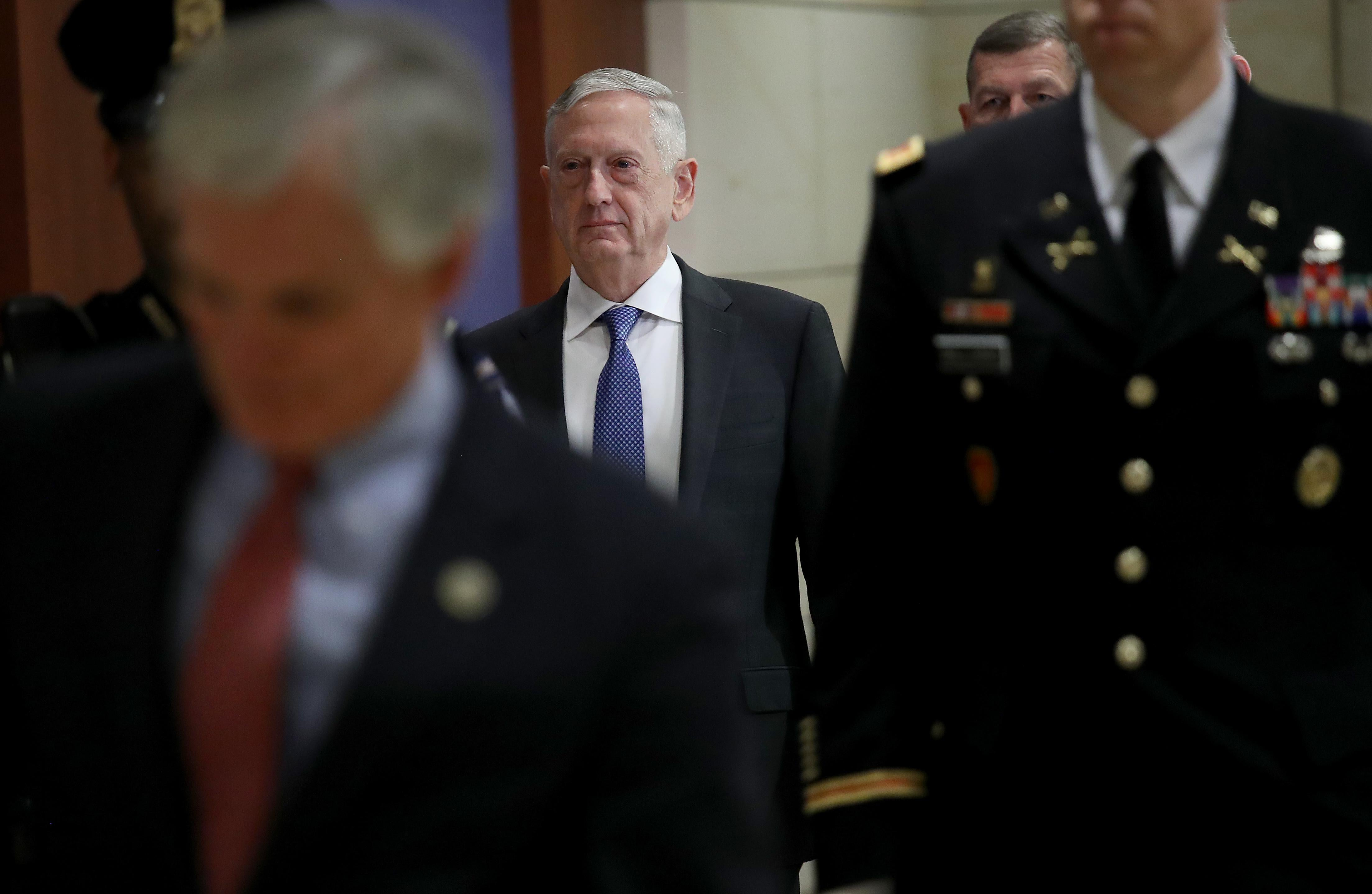 U.S. Secretary of Defense Jim Mattis arrives for a closed intelligence briefing at the U.S. Capitol with members of the House of Representatives.