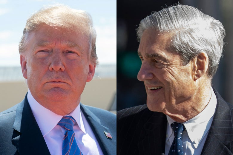 Side-by-side photos of Donald Trump, as seen on Friday, and special counsel Robert Mueller.