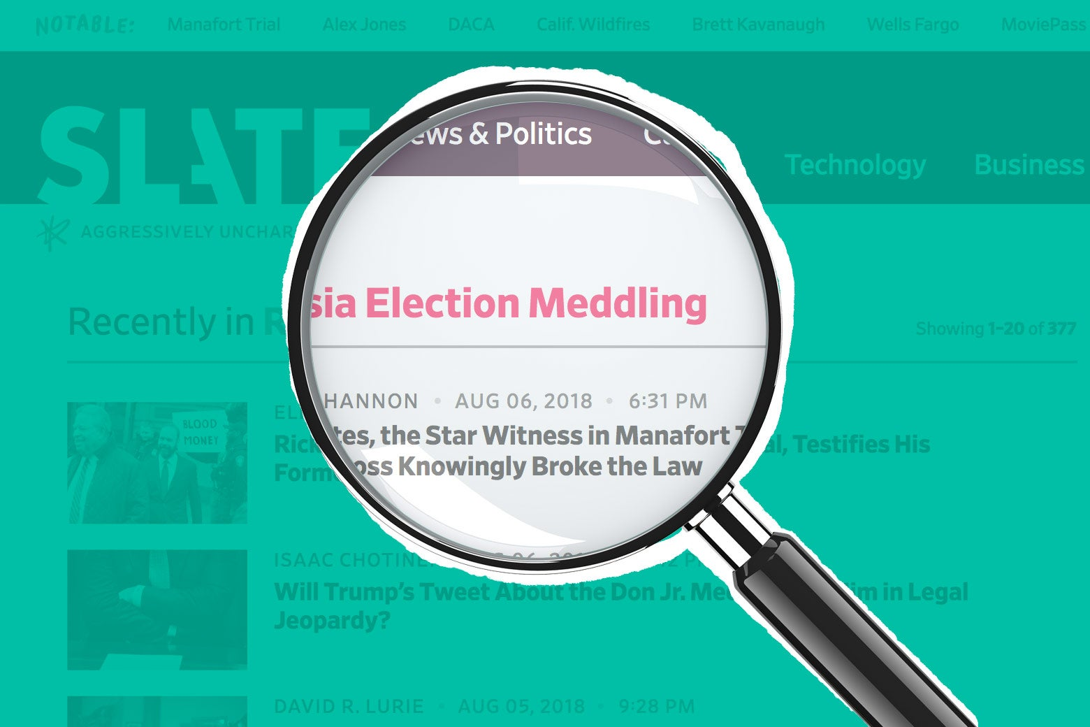 """A magnifying glass over Slate's """"Russia election meddling"""" topic page."""