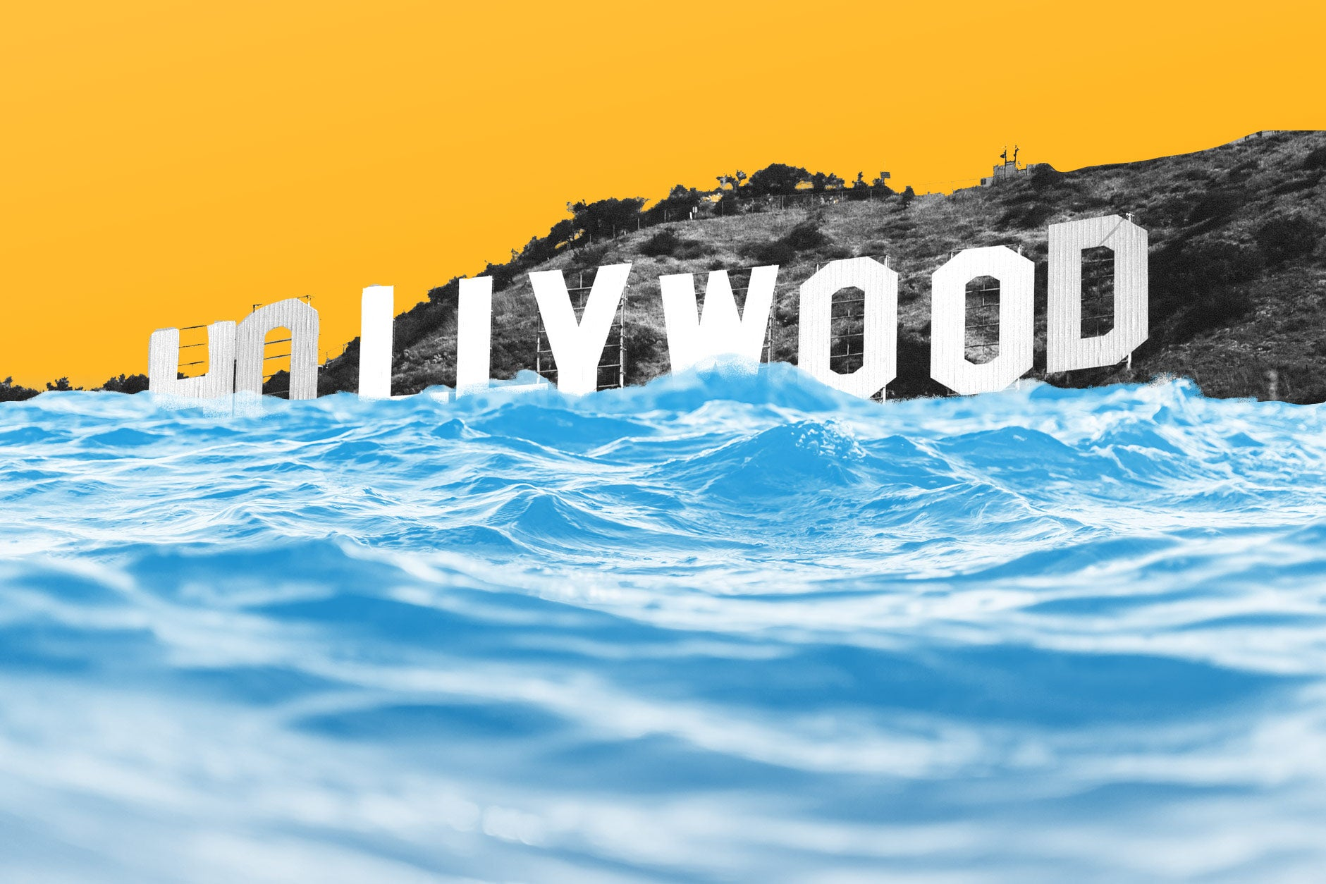 The Hollywood sign submerged in water