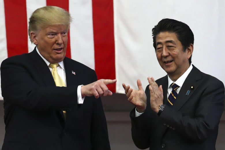 Donald Trump and Shinzo Abe at JMSDF Yokosuka base