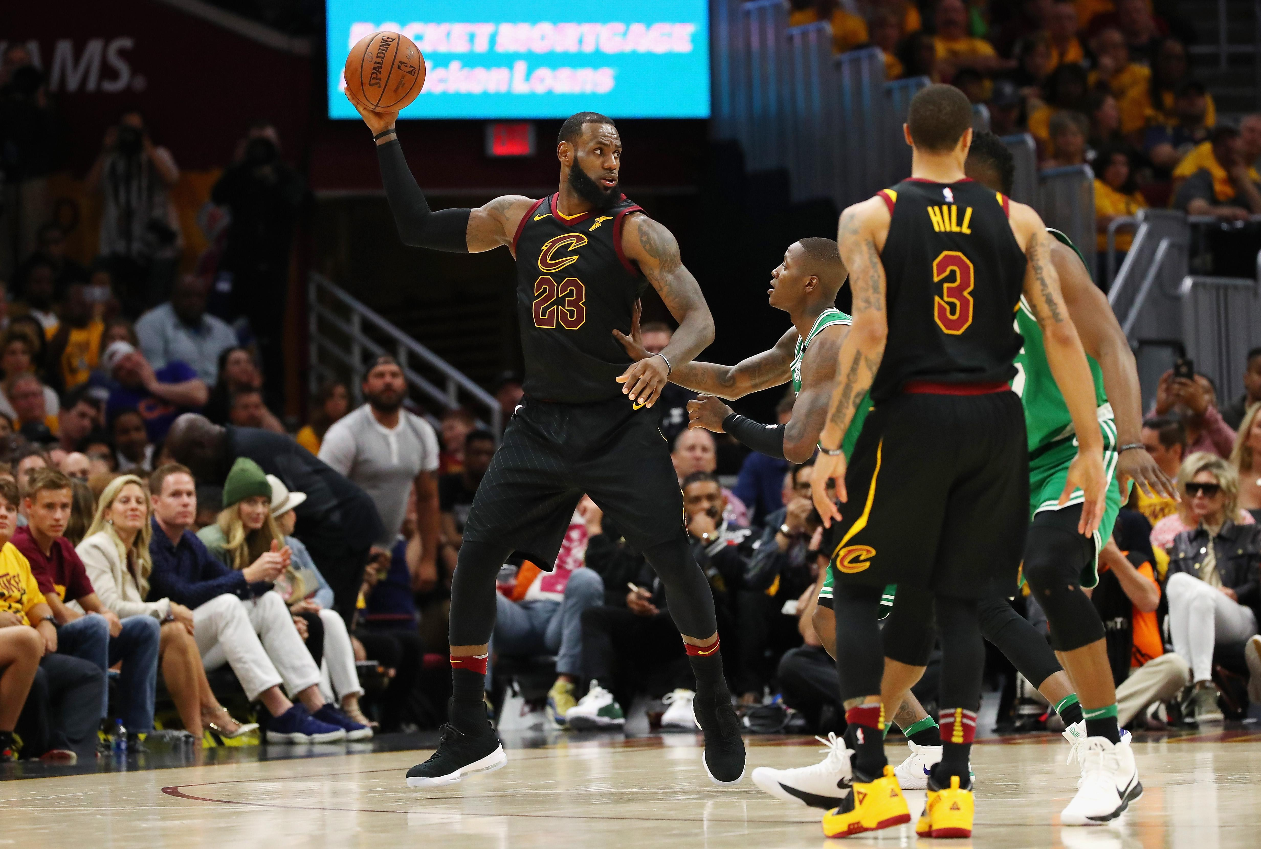 CLEVELAND, OH - MAY 19:  LeBron James #23 of the Cleveland Cavaliers handles the ball in the second half against the Boston Celtics during Game Three of the 2018 NBA Eastern Conference Finals at Quicken Loans Arena on May 19, 2018 in Cleveland, Ohio. NOTE TO USER: User expressly acknowledges and agrees that, by downloading and or using this photograph, User is consenting to the terms and conditions of the Getty Images License Agreement.  (Photo by Gregory Shamus/Getty Images)
