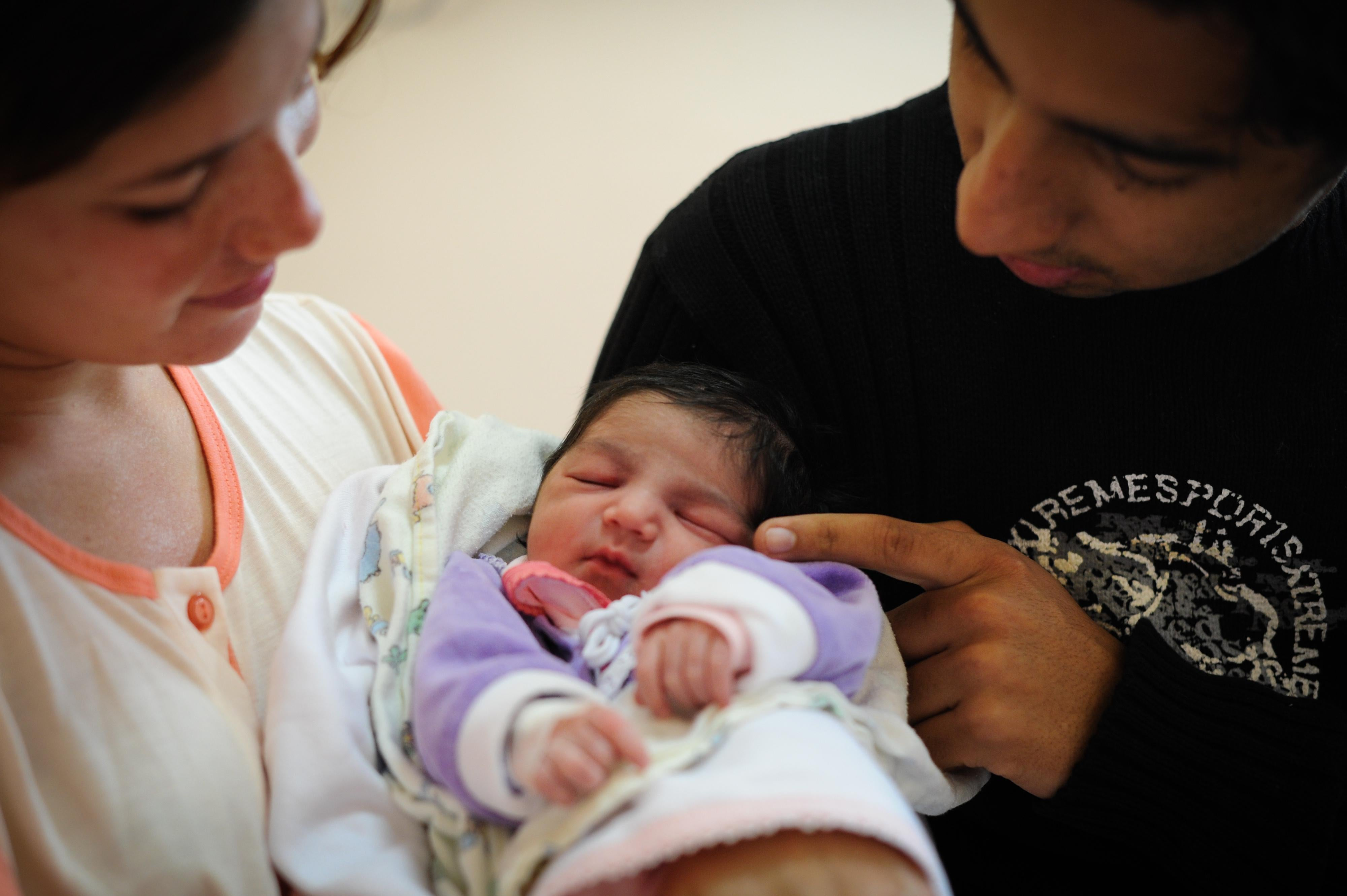 Brazilian baby, Letia Alves Ferreira, born on the day the world population reached over 7 bilion, sleeps at Amparo Maternal hospital in Sao Paulo, Brazil, on Ocotober 31, 2011.