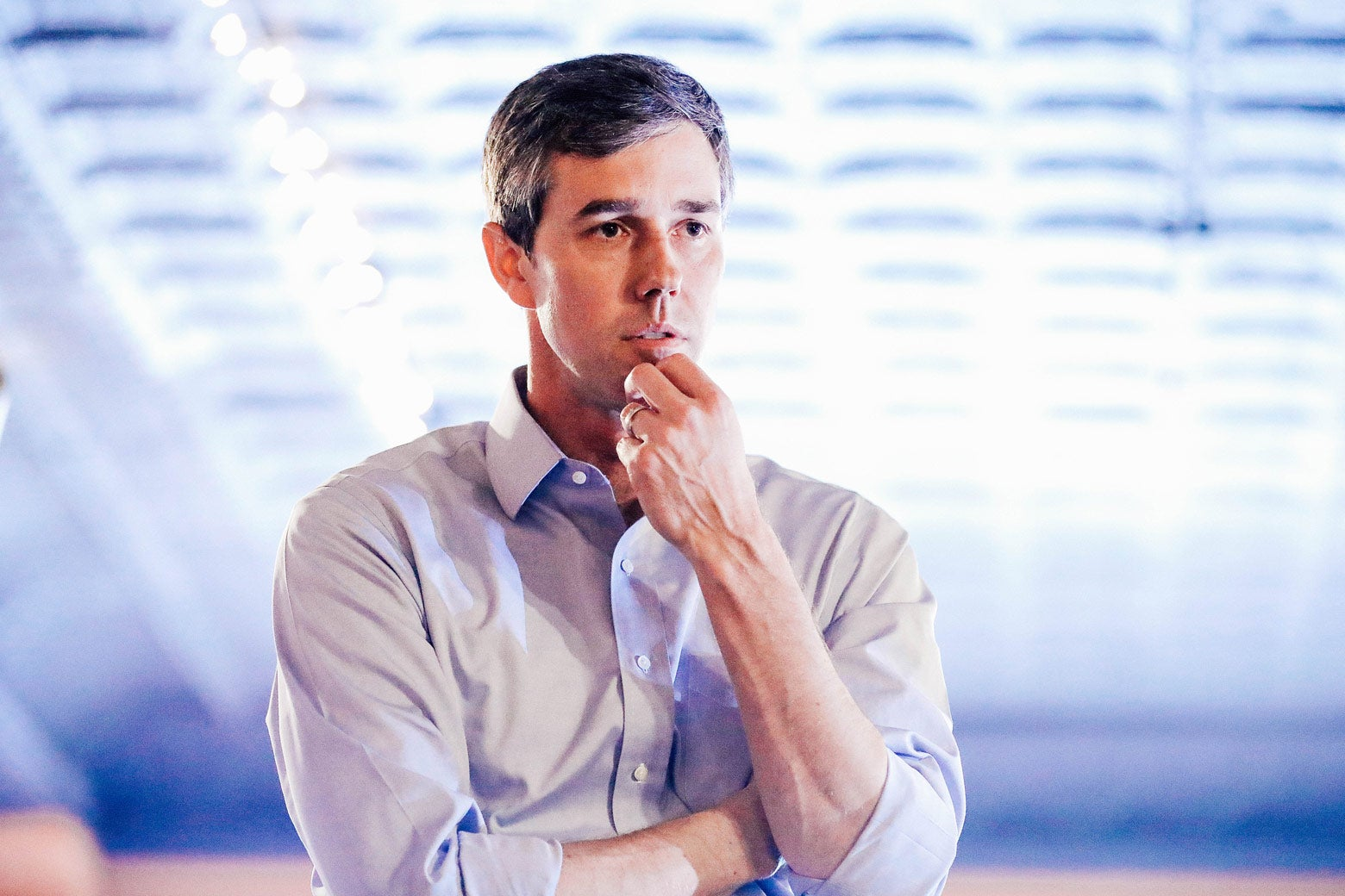 Democratic presidential candidate Beto O'Rourke talks with voters in Mount Pleasant, Iowa, on Friday.