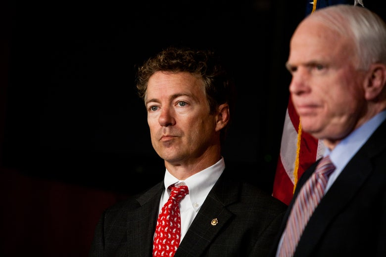 Kentucky Sen. Rand Paul with John McCain on Capitol Hill in 2011