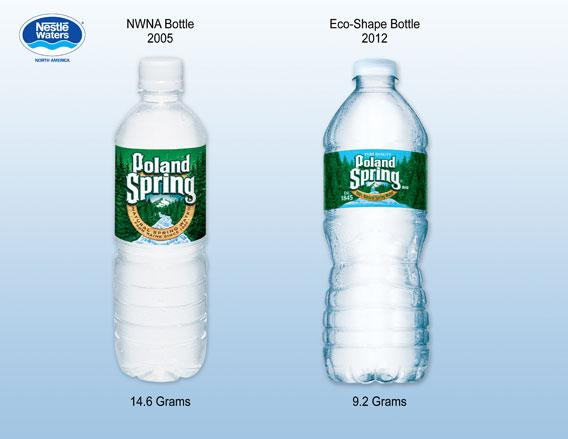 Poland Spring water bottles.