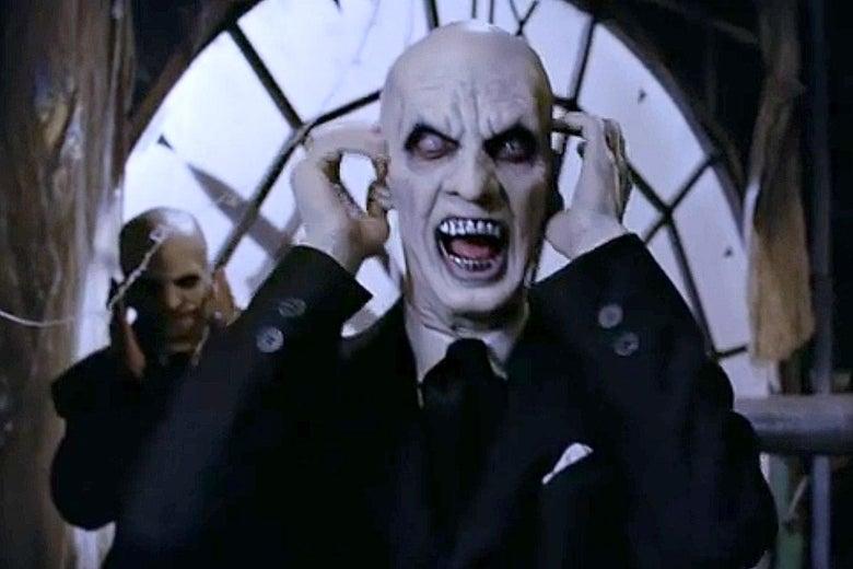 Bald vampires screaming in Buffy the Vampire Slayer.