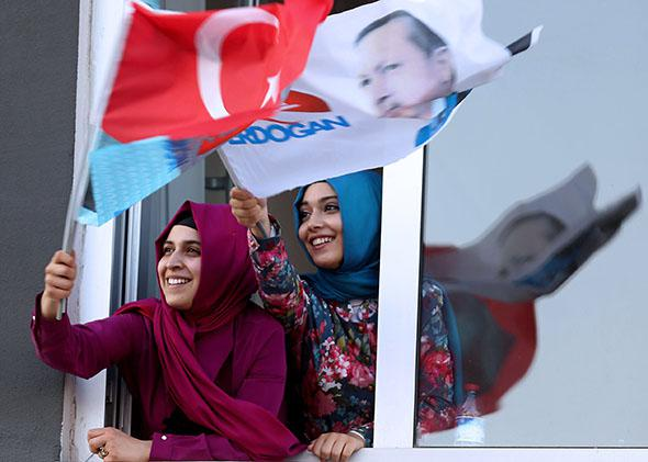 Supporters of Turkish Prime Minister and presidential candidate Recep Tayyip Erdogan.