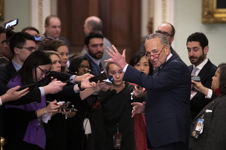 Senate Minority Leader Chuck Schumer speaks to reporters outside of the Senate chamber during a short recess in the impeachment trial proceedings at the U.S. Capitol on January 21, 2020 in Washington, DC.