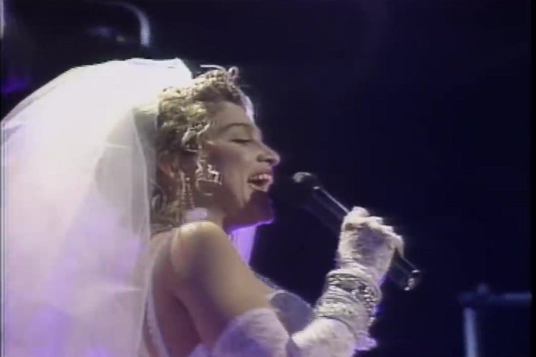 "Madonna performs ""Like a Virgin"" on the very first MTV Video Music Awards."