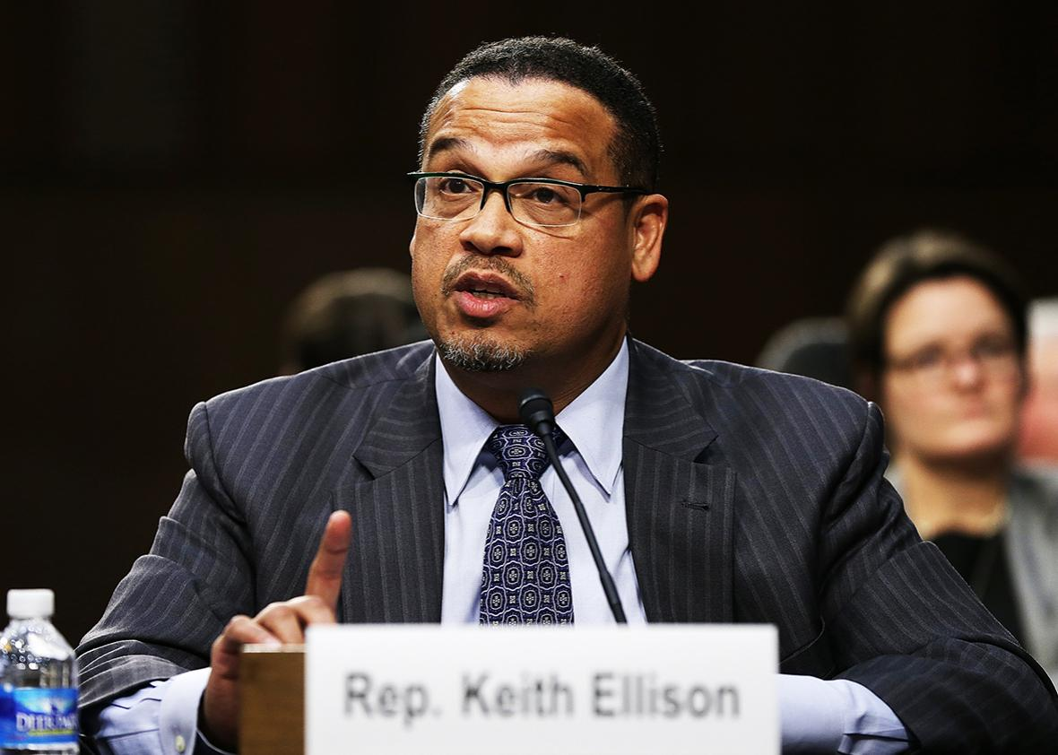Rep. Keith Ellison testifies before the Senate Judiciary Committee's Constitution, Civil Rights and Human Rights Subcommittee December 9, 2014 in Washington, DC.