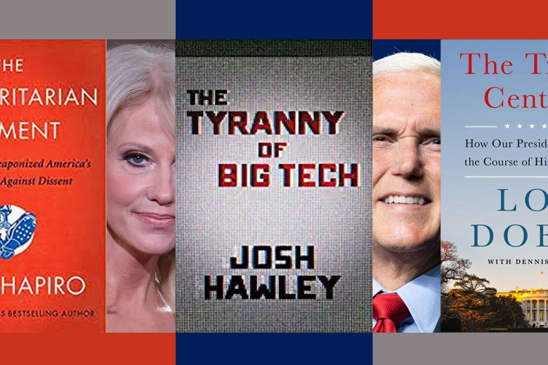 Collage with photos of Kellyanne Conway and Mike Pence interspersed with the covers of books by Ben Shapiro, Lou Dobbs, and Josh Hawley