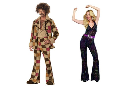 Couple dressed in '70s clothes.