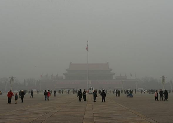 Beijing's Tiananmen Square during heavily polluted weather on January 31, 2013.