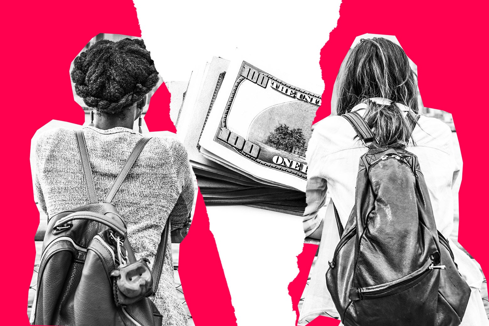Two young adult women wearing backpacks, backs turned to camera, separated by a stack of money.