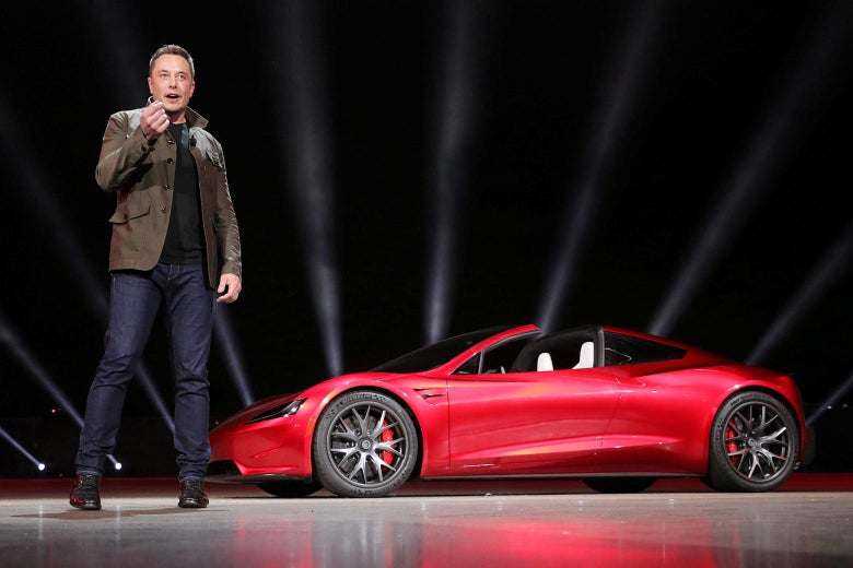 Tesla CEO Elon Musk unveils the Roadster 2 during a presentation in Hawthorne, California, on Nov. 16.